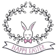 zając i wieniec z bazi Wielkanocna kartka z życzeniami