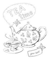 Teapot and cup vector background