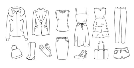 Fashion and clothes vector set
