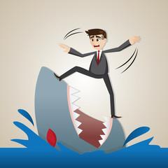cartoon businessman standing on shark