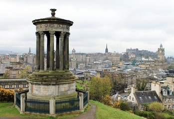 Calton Hill Dugald Stewart Monument, Edinburgh, Scotland, UK