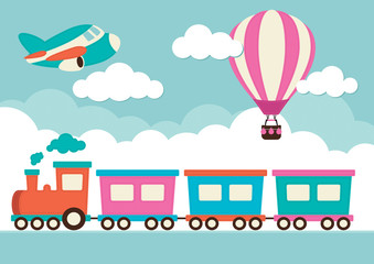 Train, Hot Air Balloon and Plane