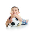 kid boy with soccerball  over white background