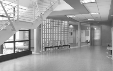 Modern building waiting area in black and white