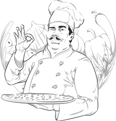 Sketch of Pizzeria Chef Holding Pizza Pan
