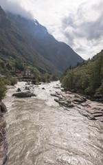 Lavertezzo, Bergdorf, Verzasca, Fluss, Herbst, Tessin, Schweiz