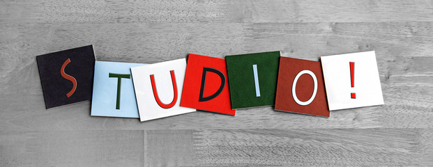 Studio, sign series for music, art, dance and recording studios.