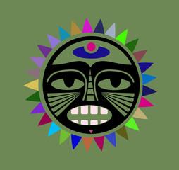 Illustration of colorful aztech sun