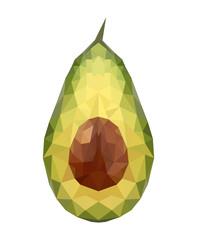 Illustration of geometric polygonal avocado isolated on white ba