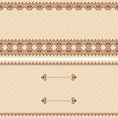 beige vector card with brown arabic ornament