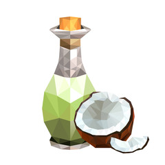 Illustration of geometric polygonal coconut oil bottle