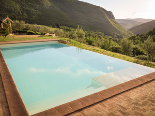 Infinity pool in the mountains