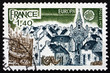 Postage stamp France 1977 View of Brittany Port