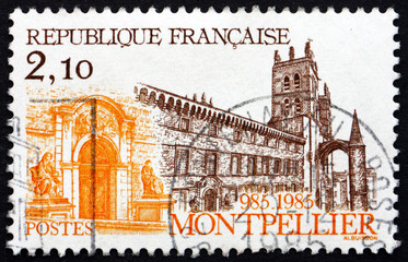 Postage stamp France 1985 Cathedral at Montpellier