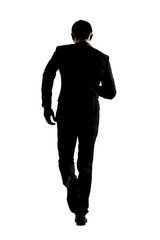 Silhouette of business man running