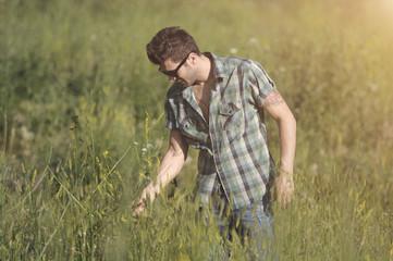 Young man walking away