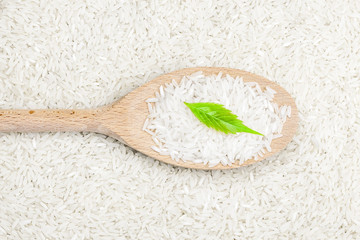 Rice on wooden spoon with green herb