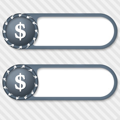 set of two vector buttons with arrows and dollar sign