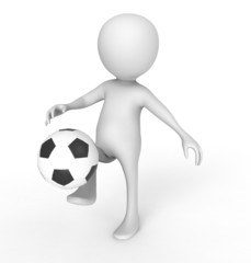 3d white people soccer player