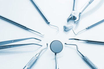 Dentist dental instruments set