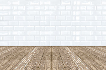 White Ceramic brick tile wall and wooden floor