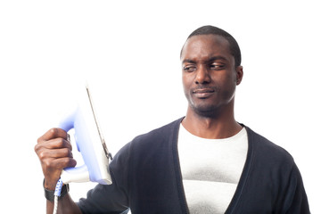 worried black man with an iron.