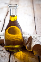 fresh olive oil in bottle