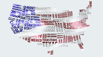 Word cloud of the United States map with USA flag texture in 4k