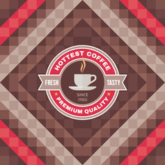 Hottest Coffee Vector Badge and Geometric Background