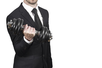 businessman lifting dumbbell weightlifting stress workout