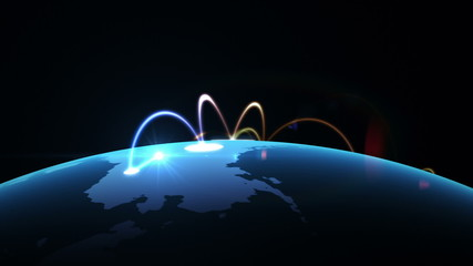 Growing network across the world. beautiful 3d animation, loop
