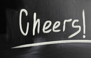 cheers handwritten with chalk on a blackboard