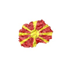 Low Poly Macedonia Map with National Flag