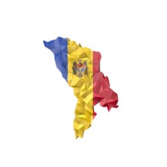 Low Poly Moldova Map with National Flag