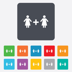 Couple sign icon. Woman plus woman. Lesbians.