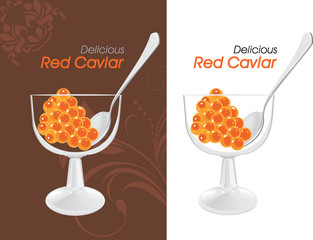 Delicious red caviar. Labels for design