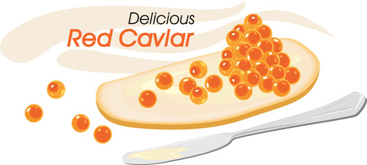 Delicious red caviar with butter