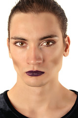Man wearing make up Portrait of a drag queen half woman half man