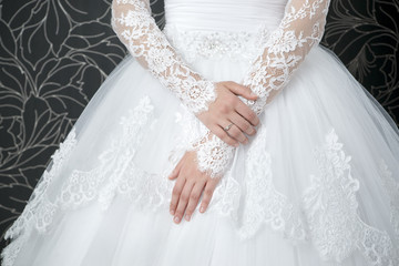 Lace white wedding dress with long sleeves