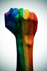raised fist patterned with the rainbow flag, symbolizing the fig