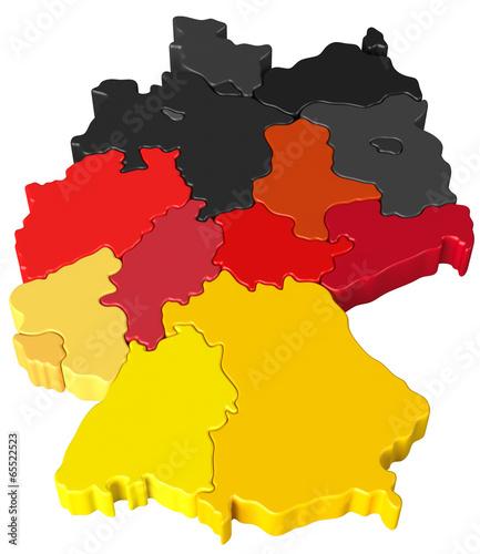 Fototapeta Deutschlandkarte schwarz rot gold