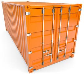 oranger schiffscontainer von oben