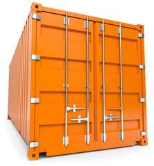 oranger schiffscontainer von vorn