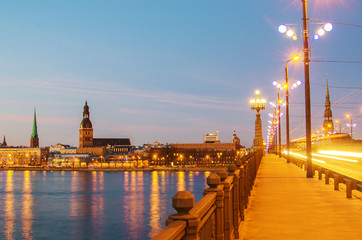 Old Town of Riga (Latvia)  in the evening. Daugava river