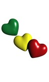 concept amour mali/rasta - coeurs vert jaune rouge
