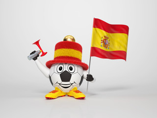 Soccer character fan supporting Spain