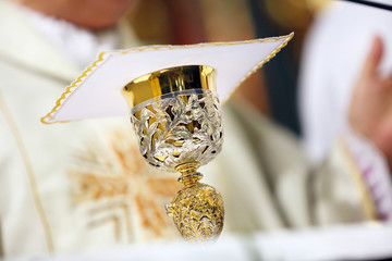 Chalice on the altar during the mass