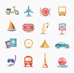 Travel and transport icons,Colorful version,vector