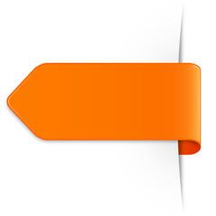 Orangener Sticker Pfeil mit Textfreiraum