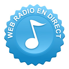 web radio en direct sur bouton web denté bleu